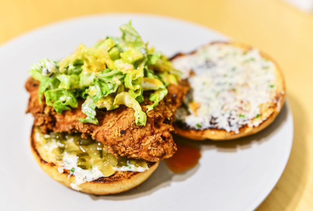 Crispy fried chicken sandwich with lettuce