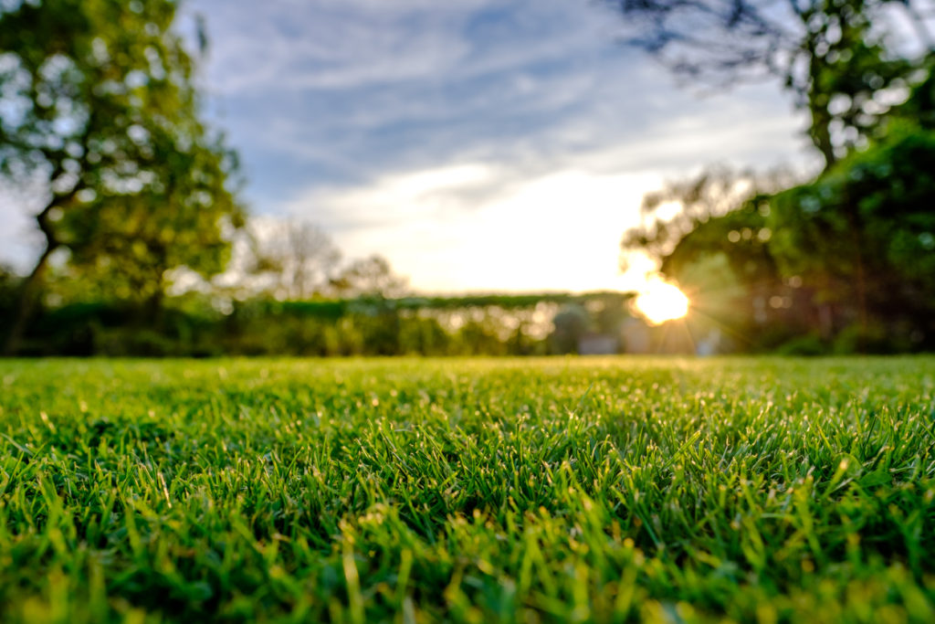 Majestic sunset seen in late spring, showing a recently cut and well maintained large lawn in a rural location.